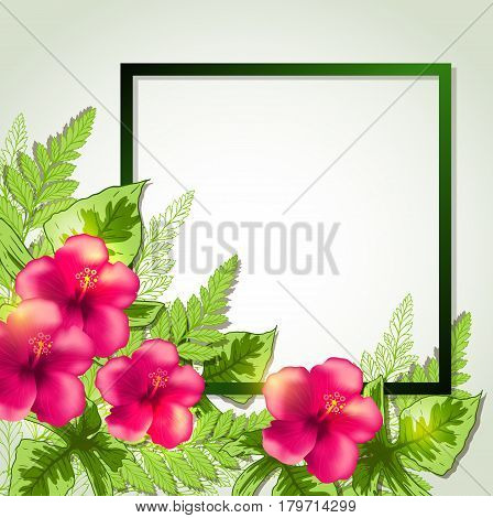 Summer frame with red tropical flowers and leaves. Vector illustration.