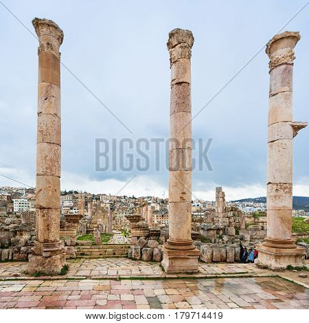 Columns Of Temple Of Artemis In Winter In Jerash