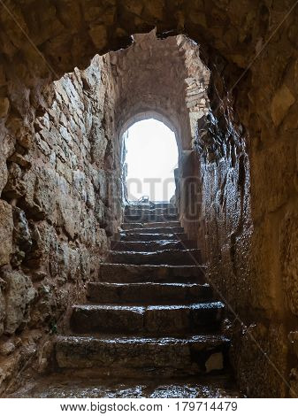 Wet Stair In Medieval Ajlun Castle In Jordan