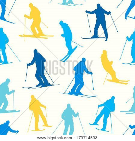 Seamless Pattern - Silhouette Of A Skiing Man.