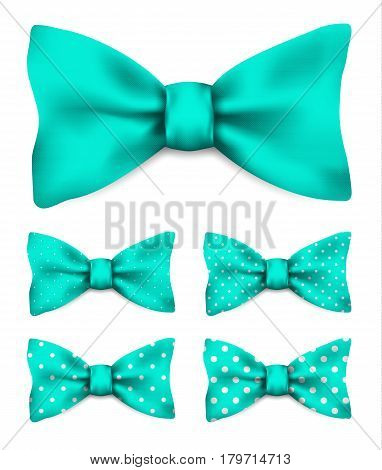 Mint green bow tie with white dots realistic vector illustration set isolated on white background