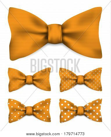 Orange bow tie with white dots realistic vector illustration set isolated on white background