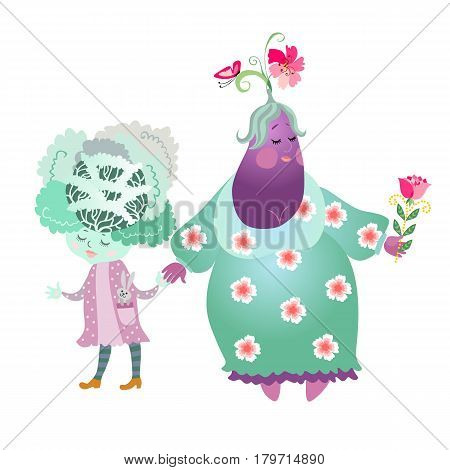Cabbage and eggplant isolated on white background. Cute cartoon characters. Stylized grandma with child. Book illustration. greeting card. Vector image.