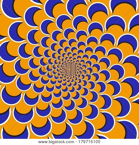 Optical motion illusion background. Purple shapes fly apart circularly from the center on orange background.