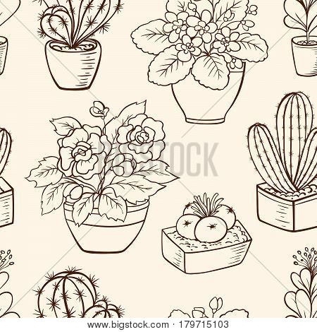 Vintage vector seamless pattern with houseplants in flowerpot