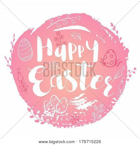 Pink abstract Easter background with lettering and doodles. Hand drawn vector illustration.