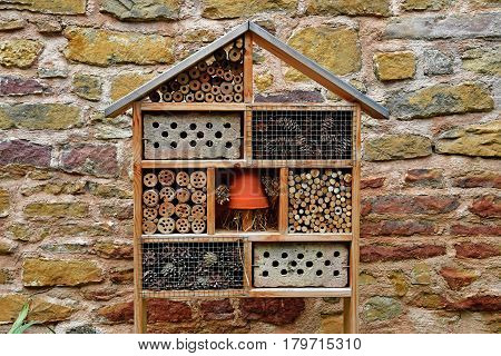Eguisheim France - july 23 2016 : insect hotel in the historical village in summer