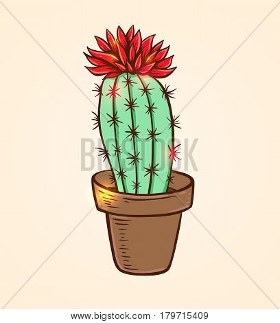 Blooming red cactus in a flowerpot. Hand drawn vector illustration.