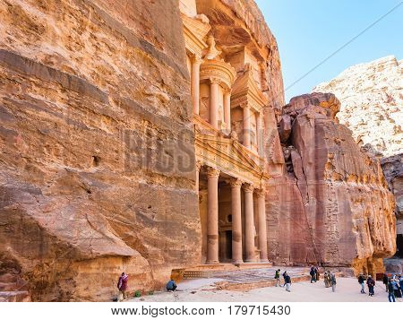 Side View Of Al-khazneh Temple In Petra Town