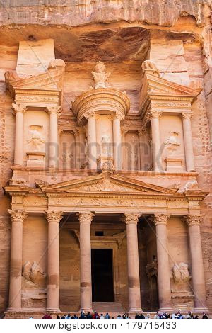 Facade Of Al-khazneh Temple In Petra Town