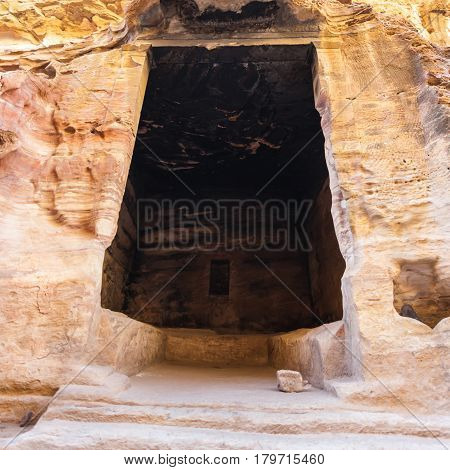 Interior Of Ancient Chamber In Little Petra Town