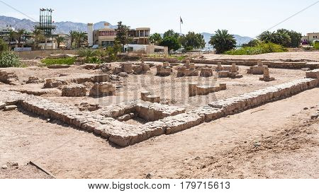 Walls Of Medieval Islamic Town Ayla In Aqaba