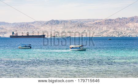 Boats In Gulf Of Aqaba And View Of Eilat City