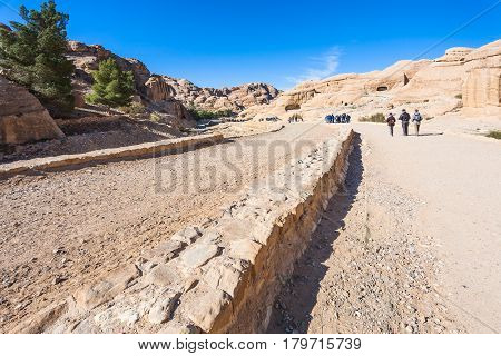 Tourists Walk To Petra Town In Bab As-siq Area