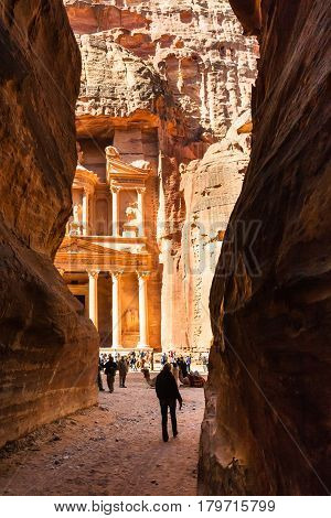 Tourist Walk To Temple From Al Siq In Petra Town
