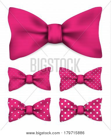Pink bow tie with white dots realistic vector illustration set isolated on white background