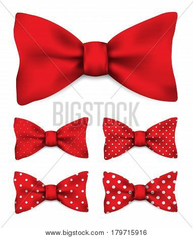 Red bow tie with white dots realistic vector illustration set isolated on white background