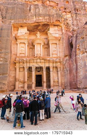 Tourist In Front Of Al-khazneh Temple In Petra