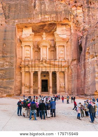 People In Front Of Al-khazneh Temple In Petra Town