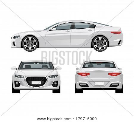 Modern car vector template. White business sedan isolated on white background. Side, front and rear view.