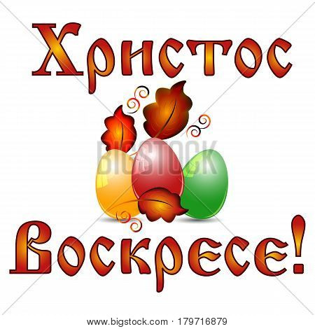 Greeting card for Pascha with colorful painted eggs and greeting on russian in slavic style on white background. Russian translation: Christ is Risen. Vector illustration