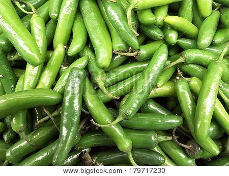 Several fresh Jalapenos make a vegetable Peppers background