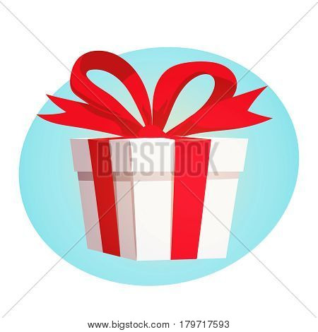 Gift box with red ribbon and bow on blue background design concept. Vector illustration in retro cartoon style