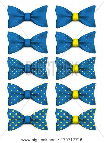Blue bow tie with yellow dots set realistic vector illustration isolated on white background