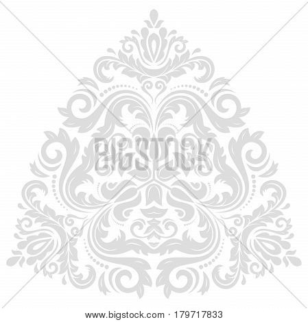 Oriental vector triangular light silver pattern with arabesques and floral elements. Traditional classic ornament. Vintage pattern with arabesques