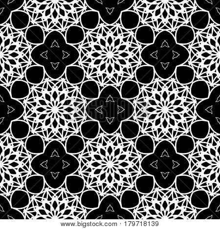 Intricate black and white pattern. Abstract lace-like seamless background. Repeating monochromatic vector pattern