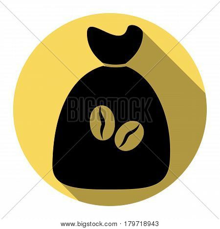 Coffee bag Icon. Coffee bag Vector. Coffee bag Icon Button. Vector. Flat black icon with flat shadow on royal yellow circle with white background. Isolated.