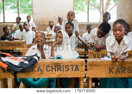 Kenya. Mombasa. January 25, 2012 African children in school at the desks in the classroom.