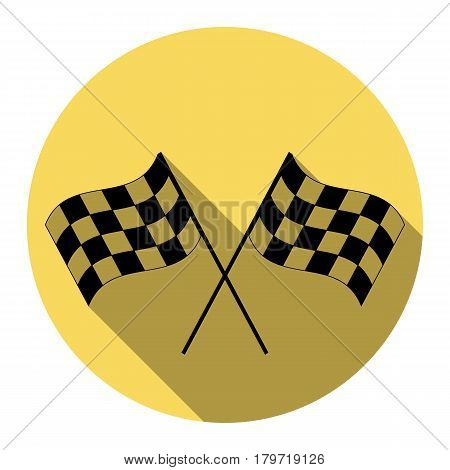 Crossed checkered flags logo waving in the wind conceptual of motor sport. Vector. Flat black icon with flat shadow on royal yellow circle with white background. Isolated.