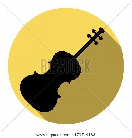 Violine sign illustration. Vector. Flat black icon with flat shadow on royal yellow circle with white background. Isolated.