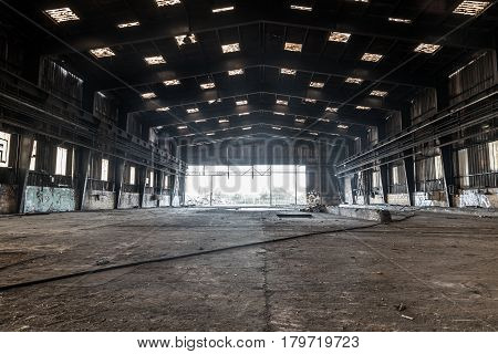 NANTES, FRANCE - MARCH, 28, 2017 : Large abandoned factory in destruction for future development of the Ile de Nantes.