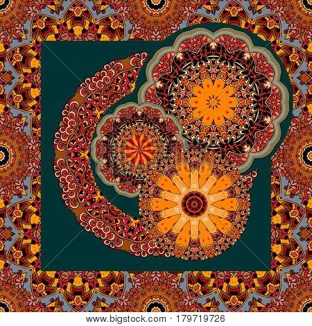 Unique bandana print or unusual square rug. Vector illustration.