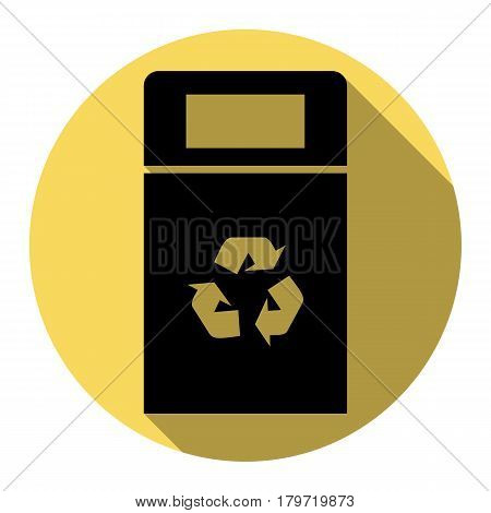 Trashcan sign illustration. Vector. Flat black icon with flat shadow on royal yellow circle with white background. Isolated.