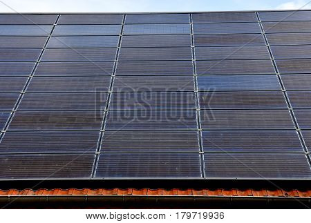 Eguisheim France - july 23 2016 : photovoltaic panels on a roof of a house