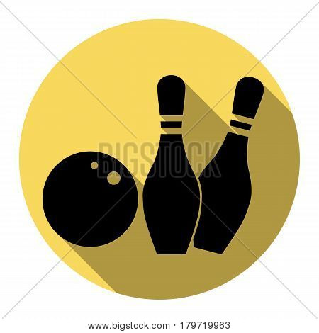 Bowling sign illustration. Vector. Flat black icon with flat shadow on royal yellow circle with white background. Isolated.