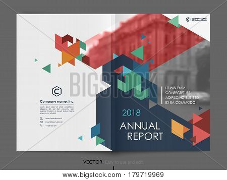 Cover design annual report. Vector template brochures, flyers, presentations, leaflet, magazine. Polygonal design background