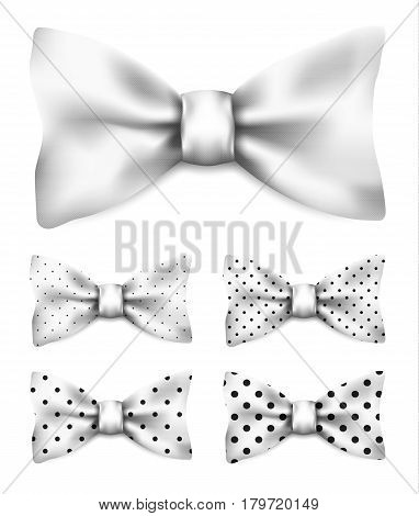 White bow tie with black dots set realistic vector illustration isolated on white background