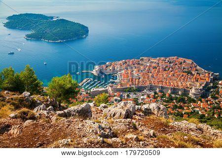 aerial view of Dubrovnik Old town and Lokrum island South Dalmatia Croatia
