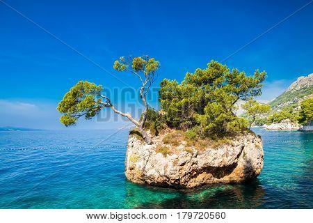 Brela Rock near Punta Rata beach Makarska Riviera Croatia