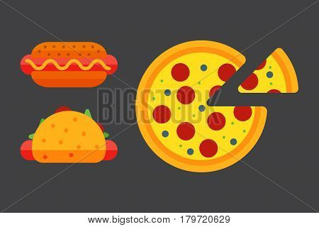 Set of colorful cartoon fast food pizza icons isolated restaurant tasty american cheeseburger meat and unhealthy burger meal vector illustration. Junk drink snack french fried dinner eating.