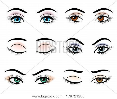 Open and closed hand drawn woman eyes. Closeup outline makeup eye set vector illustration