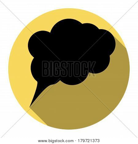 Speach bubble sign illustration. Vector. Flat black icon with flat shadow on royal yellow circle with white background. Isolated.