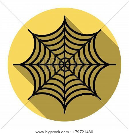 Spider on web illustration. Vector. Flat black icon with flat shadow on royal yellow circle with white background. Isolated.