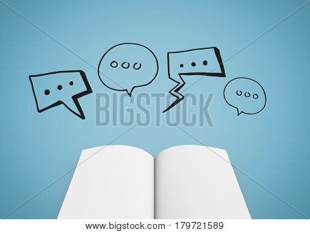 Digital composite of Open book with black speech bubbles against blue background