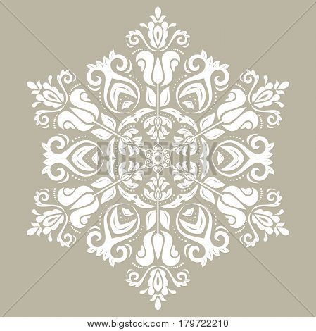 Oriental vector white pattern with arabesques and floral elements. Traditional classic ornament. Vintage pattern with arabesques