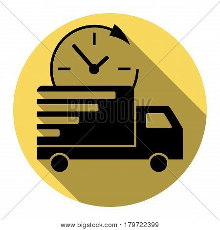 Delivery sign illustration. Vector. Flat black icon with flat shadow on royal yellow circle with white background. Isolated.